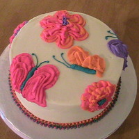 Spring  8 inch round with raspberry flavored buttercream. The flowers and butterflies are raspberry flavored buttercream as well. I think this is...