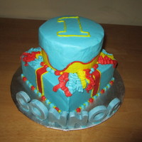 Connor's First Birthday Cake I made this cake for my son's first birthday. This is not my original design, I found it on a google search. I used all butter cream (...