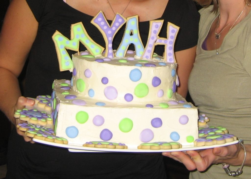 Myah's Baby Shower Cake so sad, the 'h' broke before i got a photo! ah well, i was the only one who noticed at the party. the letters are sugar cookies....