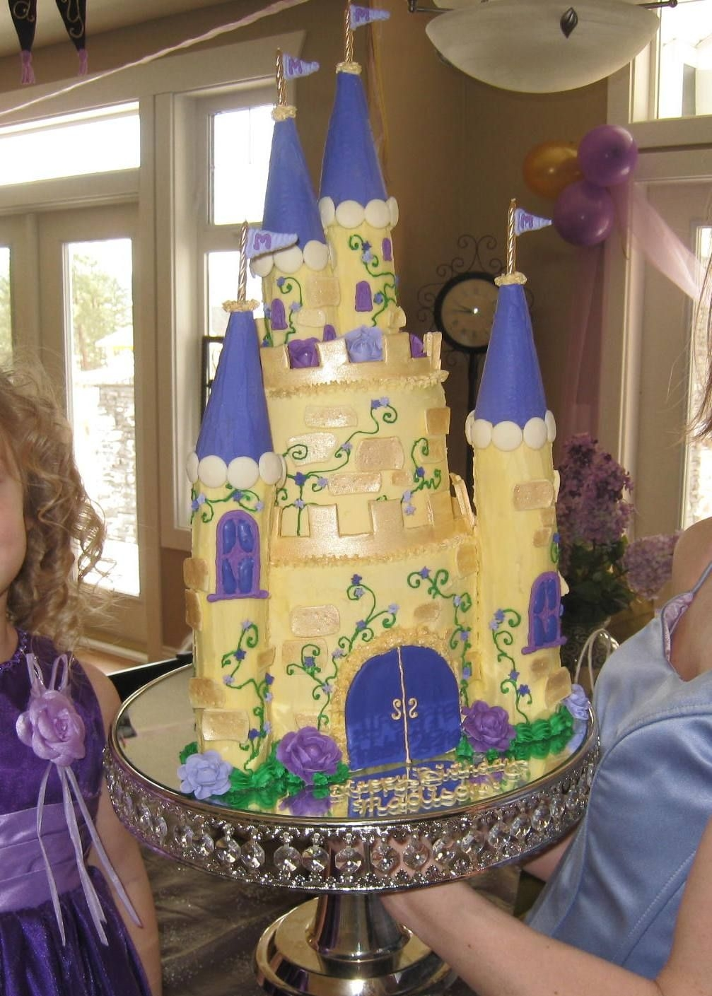 Golden Castle Cake  A proper princess needs a HUGE castle! no sugar added chocolate cake with fudge filling/fresh strawberry cake with fudge filling.purple...