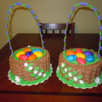 Easter Basket Cakes I made 2 identical easter basket cakes. I used 3 10 inch cakes stacked to form the basket. I then cut out some of the top of the cake to...