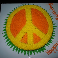 Peace Sign Cake I made this cake for my moms birthday, because she loves peace signs. I used 2 large round baking pans to form the peace sign. I then used...