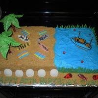 Fishing/beach Cake I did this cake for my husbands 30th birthday. His two favorite hobbies are fishing and surfing, so I tried to incorporate both. I used 2...