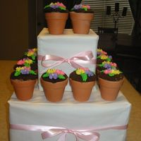 Somethings Blooming For Mother's Day! These are flower pot cupcakes that I made for Mother's Day. The pots are real and the cupcakes are stuck inside. The frosting is...