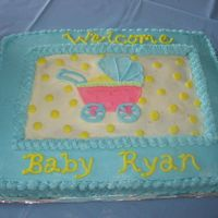 Baby Buggy Cake This is a cake I made for my friend's baby shower. The buggy matched the plates and napkins that we had. Half of the cake is yellow...