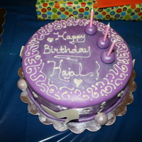 Sisters Birthday Cake My first cake. My sisters birthday. Used violet colored MMF and white chocolate piping and white chocolate for the high heels....
