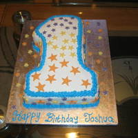 No1 Star Cake Used the No 1 wilton cake pan for this cake. Bottom layer is chocolate, top layer is vanilla. Cake is covered with white fondant and...