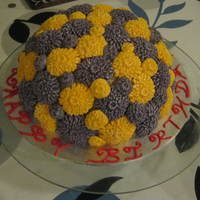Birthday/celebration Cake   Cake decorated with Purple and Yellow Chrysanthemum