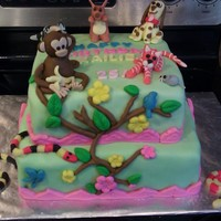 Animal B-Day Cake For My Niece Spice cake with cream cheese frosting. Animals made of sugar paste and fondant. This is my first professional cake. It was a hit. :)