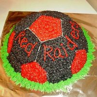 Soccer Cake This was a soccer ball cake for the Red Raiders done in their team colors.