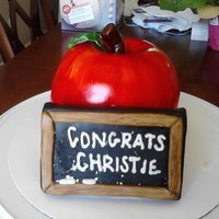 Teachers Cake! for my SIL that just graduated with her masters! it was so realistic looking! used the ball pan for the apple and RKT for the chalkboard!
