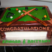 Pool Table Cake The groom's mother requested this to be served at the rehearsal dinner, since the bride and groom met in a pool hall! :) The bottom...
