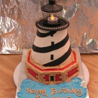 Cape Hatteras Lighthouse Cake hand carved, buttercream with fondant.......top part is not edible