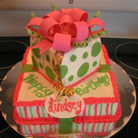 Pink And Green Gift Cake