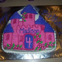 Princess Castle Cake I made this for my best friends little girls 4th birthday....I got a flu bug and made the cake and cupcakes between rests, not the cutest,...