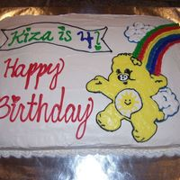 Sunshine Care Bear Birthday Cake This is a cake I made for my daughters 4th birthday. It didn't turn out like I had hoped as I was rushed making 3 cakes that night. It...