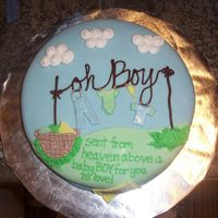 """oh Boy"" Baby Shower Cake This is a chocolate cake, frosted with chocolate icing...covered with fondant. It is for a baby shower for my husbands co-worker. It's..."