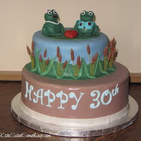 Frog 30Th Anniversary Cake My aunt loves frogs, so here's what I came up with to celebrate her and my uncle's 30th anniversary. The figures are fondant, the...