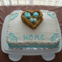 House Warming Cake Not from a class, but my first cake not for immediate family. Made for a housewarming party for church. From scratch vanilla cake with...
