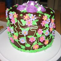 Flowers Royal icing roses and drop flowers with chocolate buttercream icing