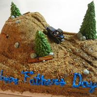 Father's Day Jeep Cake The cake I baked and decorated for dad :) its chocolate cake with buttercream frosting, crushed graham crackers for dirt, sugar cones with...