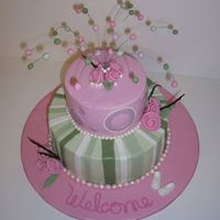 Pink And Green Baby Shower Buttercream icind with fondant accents, white chocolate booties and wire accents with fondant balls. Fondant pearl border.