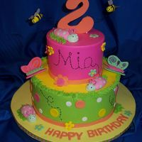 Mia's Bug Birthday 6 and 9 inch rounds, iced in butterrcream, fondant accents, bugs, and letters. number has tylose added. bees on 22ga wire. butterflies are...