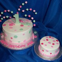 Pink Polka Dots buttercream iced 9 inch round. fondant dots, letters and number, 22 ga wire with fondant dots glued on with white chocolate. fondant curls...