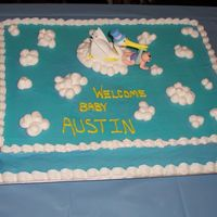Baby Shower Simple last minute baby shower cake for my niece. The stork was a kit that I had bought.