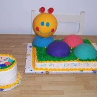 Baby Einstein This is a cake I made for a friends baby's 1st birthday. It was my first time using mmf. The body was made from the ball pan and the...