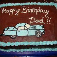 Classic Car Cake This is my first frozen buttercream transfer. As you can see, it cracked on the hood, but I was later able to smooth it over. I'm...