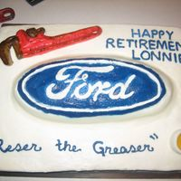 Pipefitter Retires From Ford This is a cake covered in bc with a gumpaste pipe wrench and tub of grease. It was made for a mannamed Reser who was retiring from ford and...