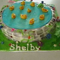 Sweet Ducky Pond simple two layer round covered in fondant with painted bricks and water adorned with fondant flowers, ladybugs, bumble bees, frogs, and...