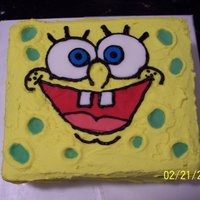 Spongebob Squarecake two layer buttercream/fondant accented cake