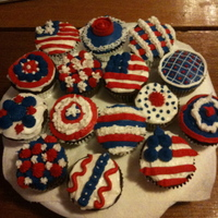 Patriotic Treats This is my first decorating attempt. I did cupcakes for the 4th of July. Some turned out better than others, but overall, not a bad start...