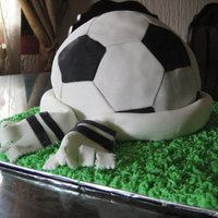 Soccer Cake. First (Only, so far) cake that Ive sold. For a neighbours' son's birthday. I think he turned 8ish? Buttercream Grass, Vanilla...