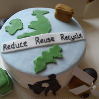Recycling   Idesigned this cake for my little ones school to raffle for thier eco fair.