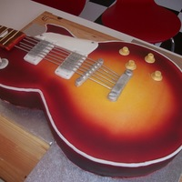 My Very First Go At A Guiter Cake this is just under full size based on a gibson les paul with a sunburst finish