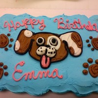 Puppy Face Chocolate cupcake cake with buttercream icing. The customer originally wanted a Littlest Pet Shop cupcake cake but we were out of the kit....