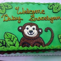 Baby Monkey A Baby shower cake made to resemble the invitation. Marble buttercream.