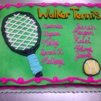 Walker High School Tennis Club 1/4 yellow buttercream cake made for my old high school's graduating tennis team. It was rather nerve racking to get all those names...