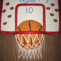Basketball Cake German Chocolate Cake decorated with White Chocolate Buttercream Icing and red fondant with basketball candles. Backboard filled with Dulce...