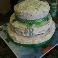 Green Green cake i made. Using ribbon (non edible) , sprinkles , and some love !