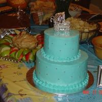 "Baby Shower Tier Cake 6"" carrot cake and 9"" chocolate cake. All buttercream w/ edible silver beads."