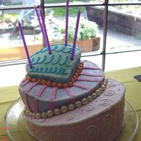 Topsy Turvy Cake - Three Tier This was my 1st topsy turvy cake = and it was okay. Want to work on height as opposed to really angled next time.