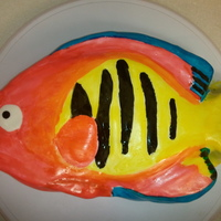 Flame Fish I was ask to bake a grooms cake and the bride ask that I bake a flame fish. This is a test cake that I did, not bad at all for my 1st time...