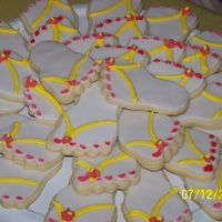 "Flip Flops! Cookies for my daughter's birthday party. NFSC, RBC, royal icing decorations... ""painted"" toe-nails with almond extract and..."