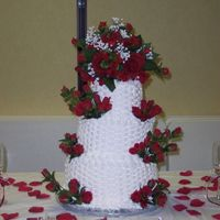 Basket-Weave Wedding Cake Basket weave on vanilla cake with vanilla buttercream. Each layer was 3 cakes to achieve height. This was my first wedding cake, and was an...
