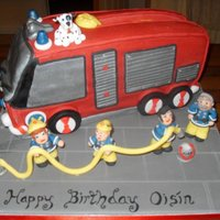 Fire Engine Cake. Fire engine cake with fire fighters.This cake was based on a kids T.V. show called Fireman Sam and his fire engine called Jupiter.I...