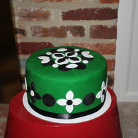 Funky Patterned Green Cake Green, black and white funky patterned cake.
